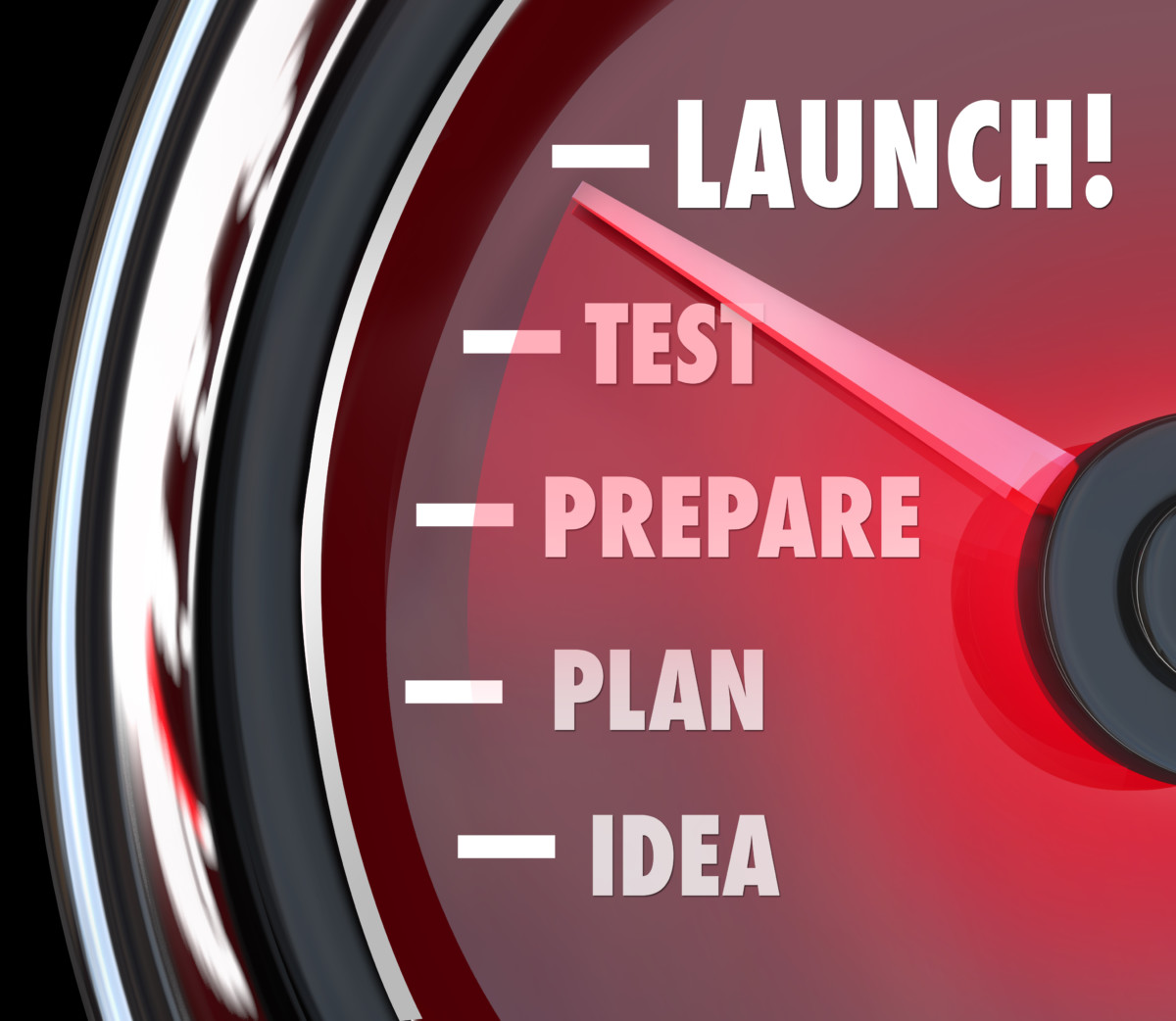 Launch word on a red speedometer with needle racing past Idea, Plan, Prepare and Test to illustrate the successful starting or beginning of a new product, business or company